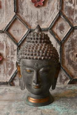 Bronze Buddha Head with Golden Detailing <b>SOLD<b>